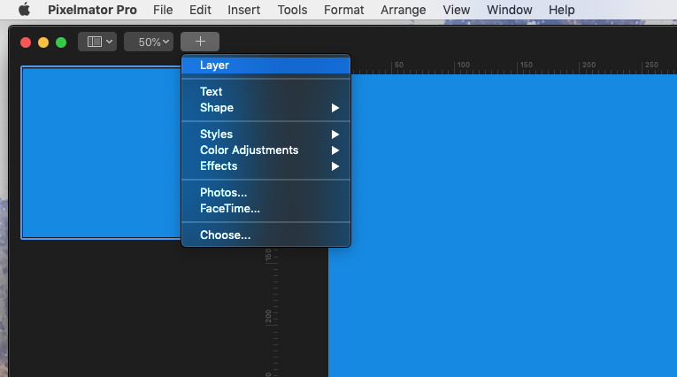 Adding a new layer in Pixelmator Pro