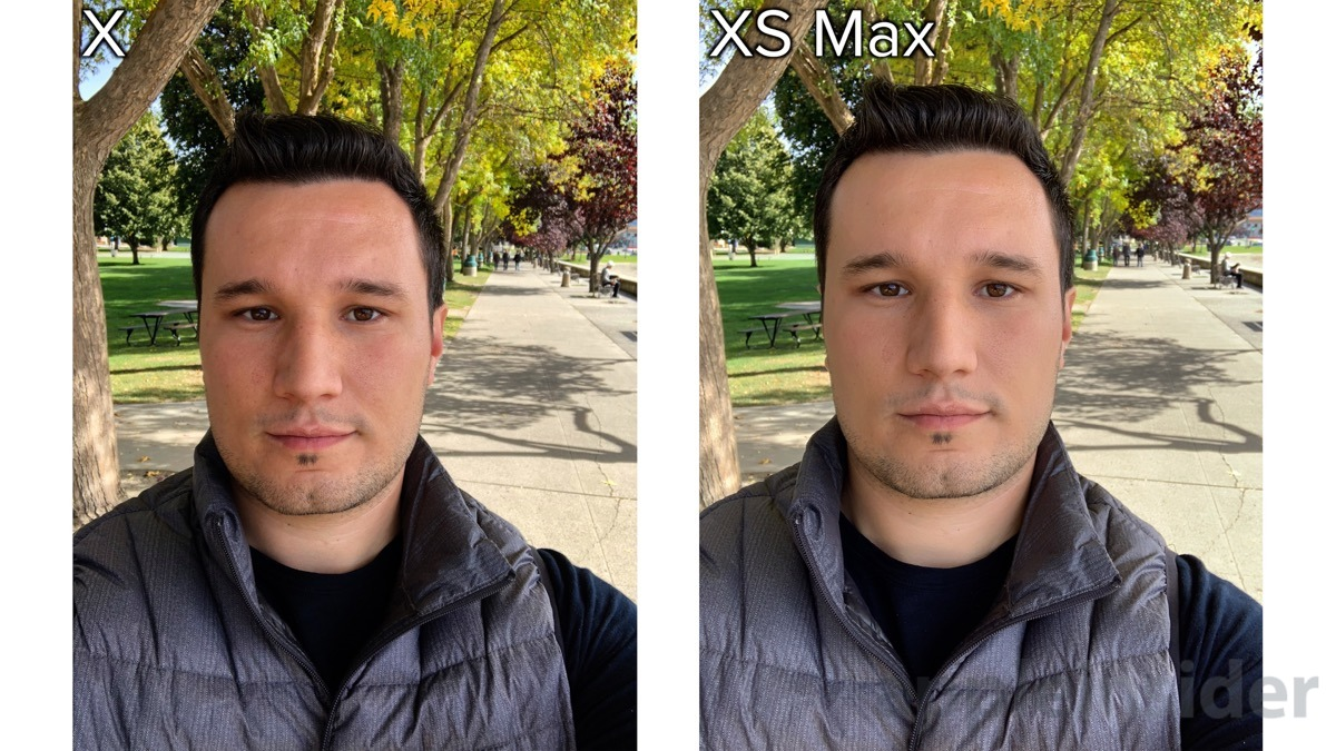 iPhone XS selfie photo detail comparison