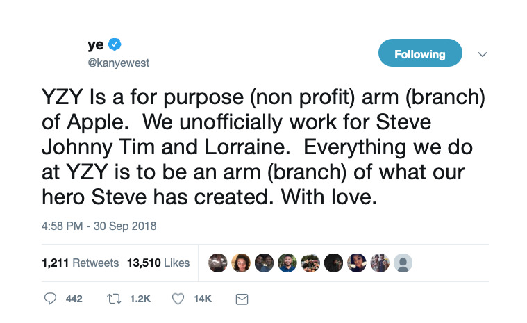 Kanye West's tweet about YZY being part of Apple