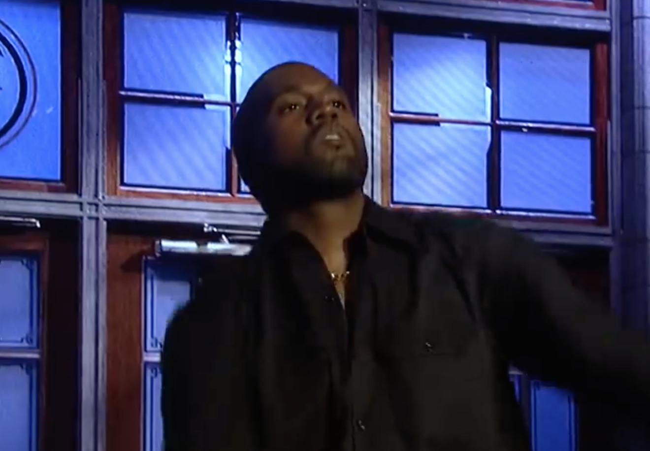 Kanye West performing on Saturday Night Live