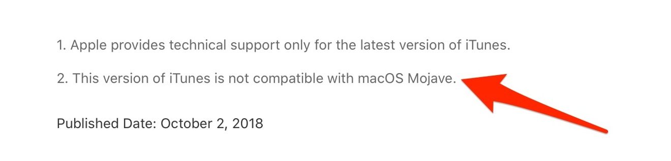 iTunes incompatibility with macOS Mojave