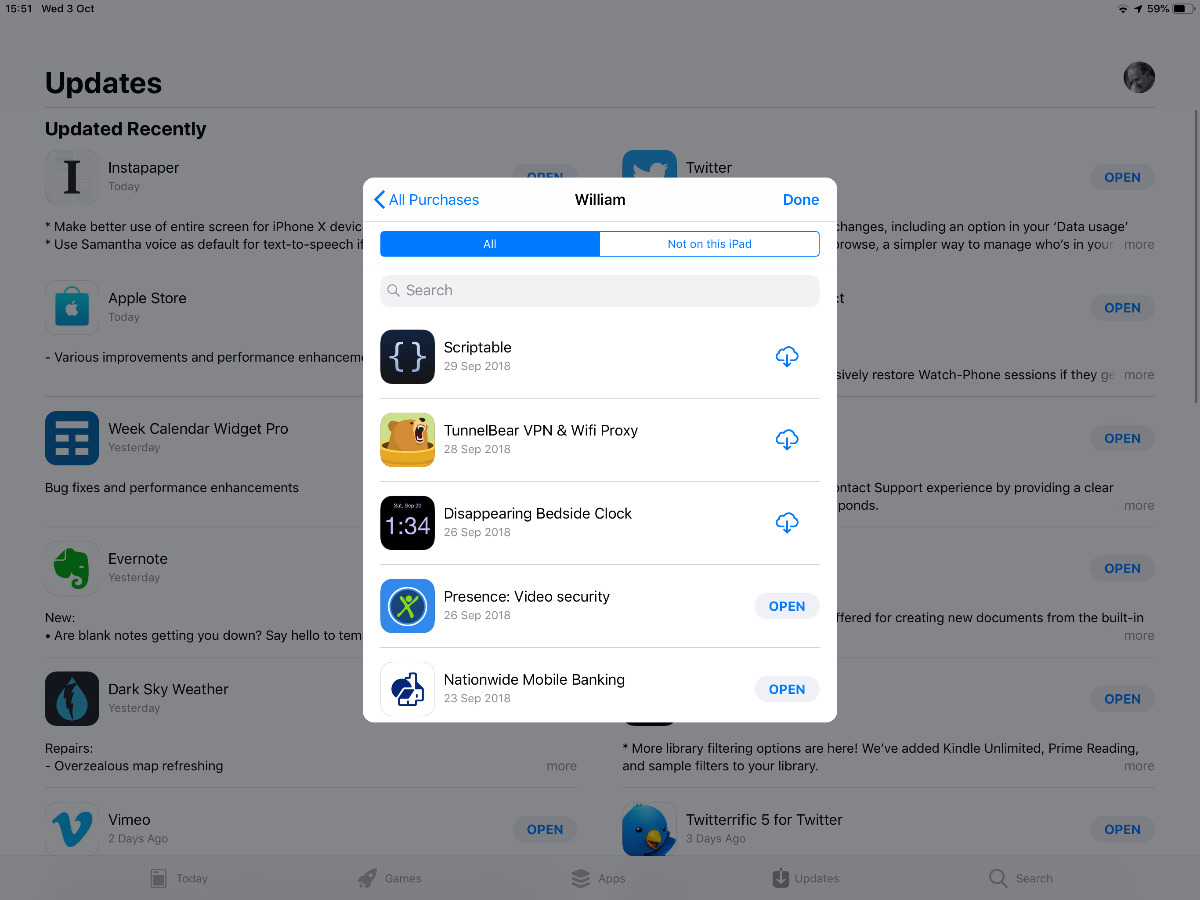 Download past purchases on iPad
