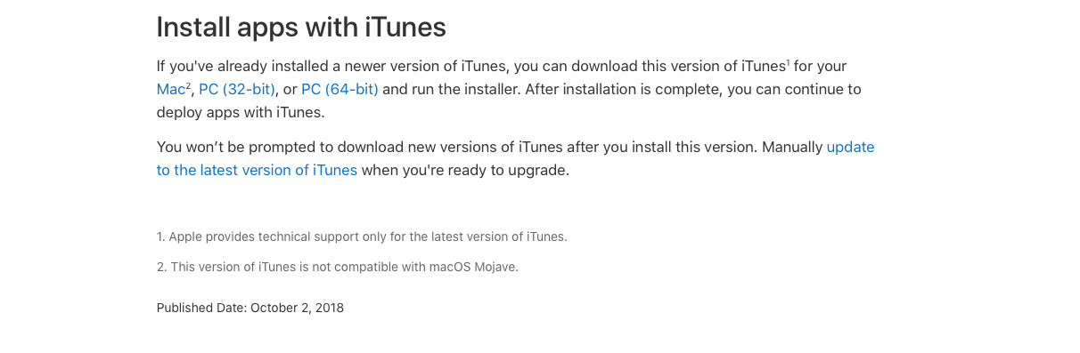 Downloading a special legacy edition of iTunes