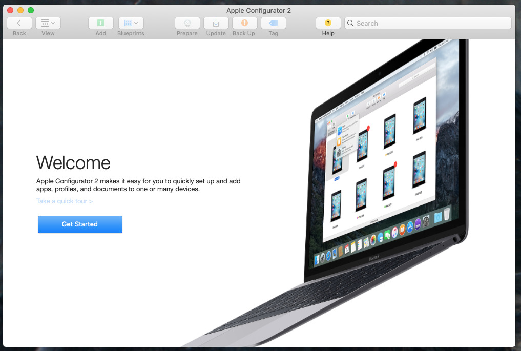 Launch screen of Apple Configurator 2