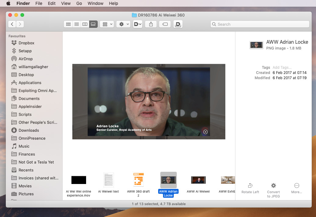 Example of Mojave's new Gallery view being useful