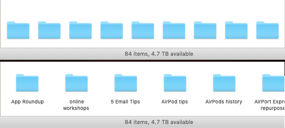 Top: Gallery view without filenames. Bottom: with