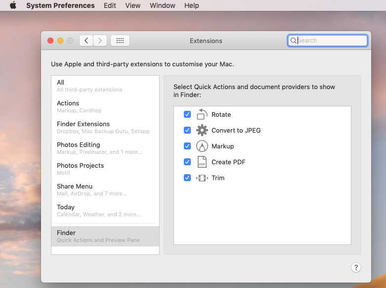 Mojave's new Extensions System Preference pane