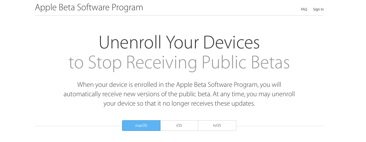 Apple's support page for leaving the iOS 12 beta