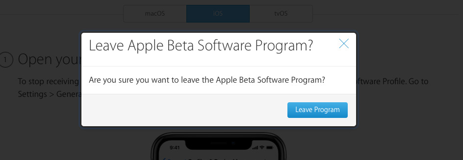 Confirming you want to leave the beta