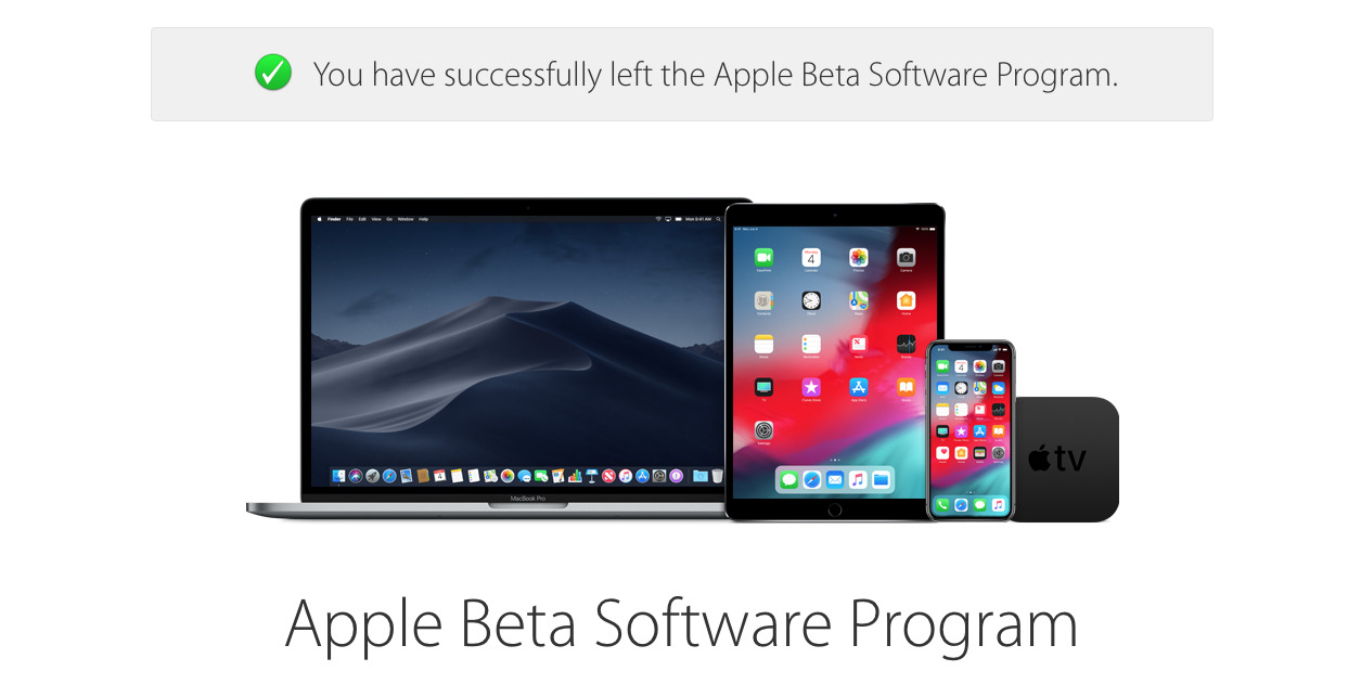 Apple's detail page about having left the beta program