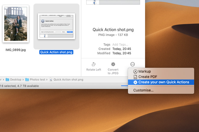 How to add your own Quick Actions to the new macOS Mojave Finder