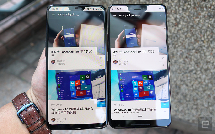 Close up on what's believed to be pre-release Pixel 3 XL