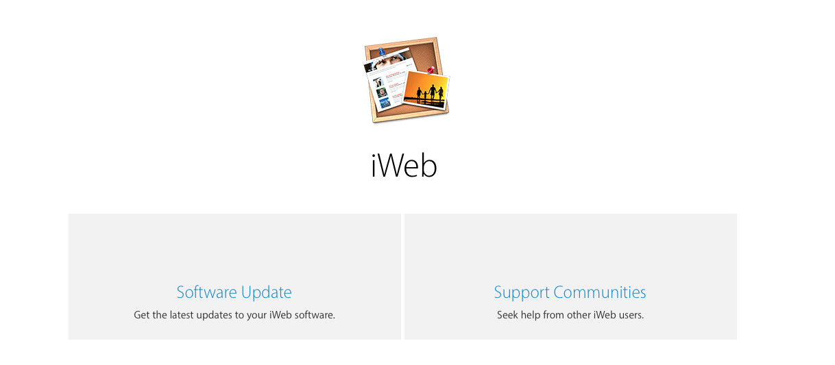 Detail of Apple's still-existing iWeb support pages