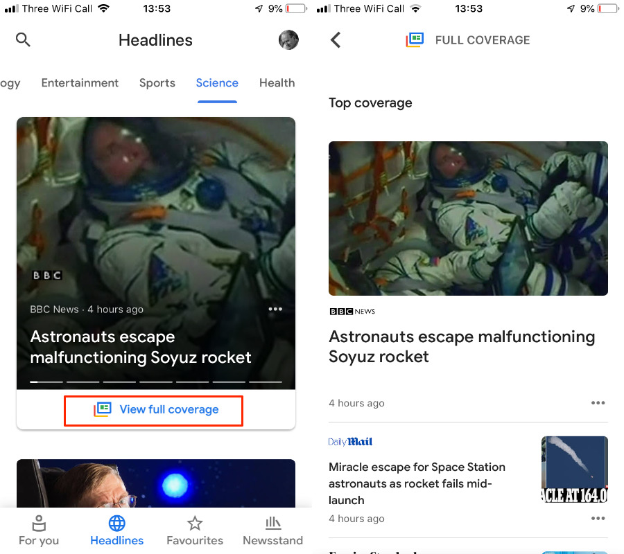 The Full Stories feature in Google News