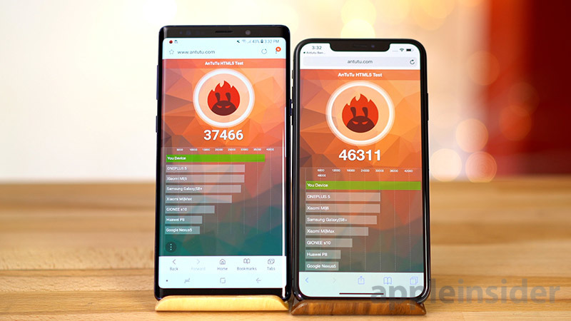 iPhone XS vs Galaxy Note 9 Antutu