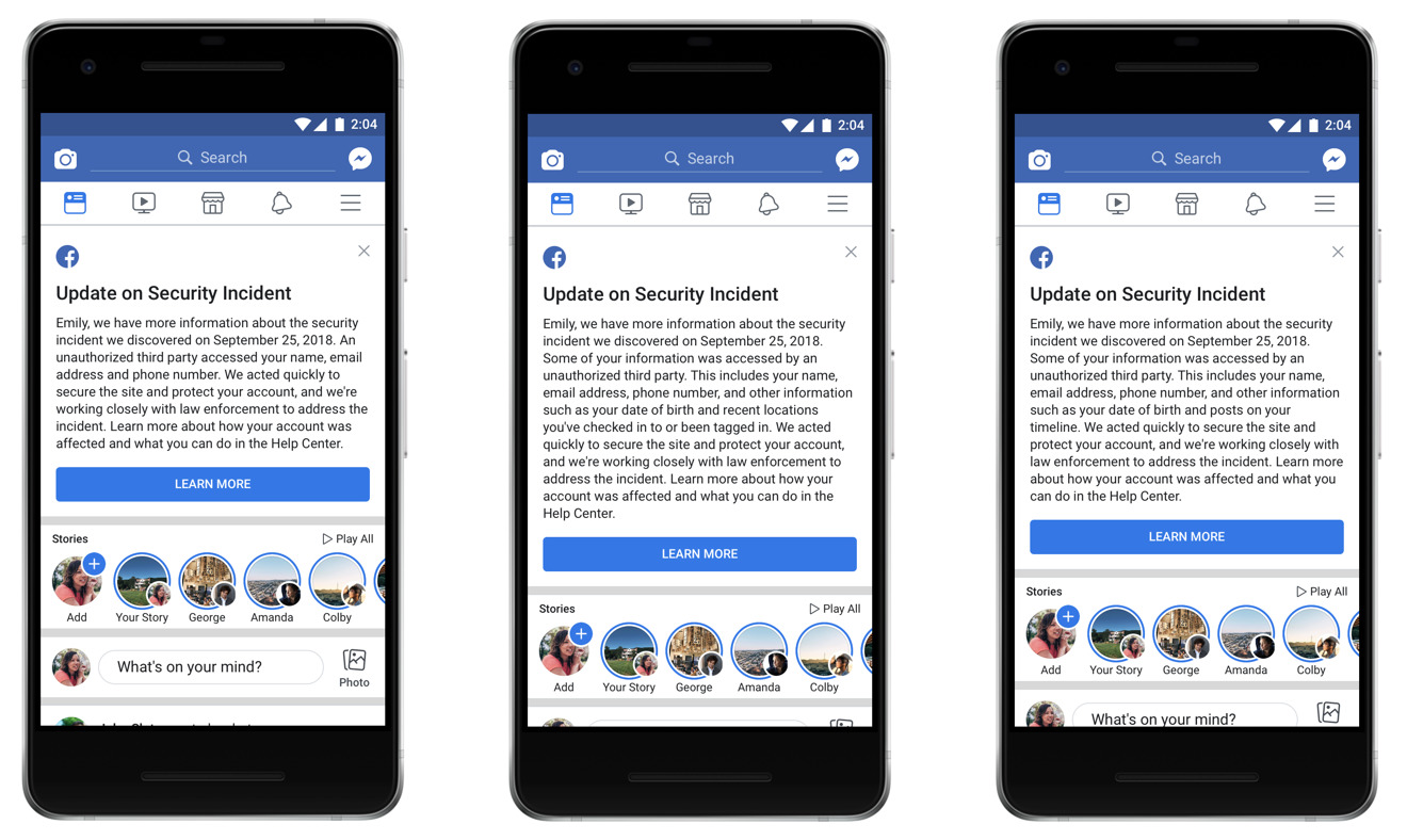 Examples of customized messages Facebook will send out to affected users