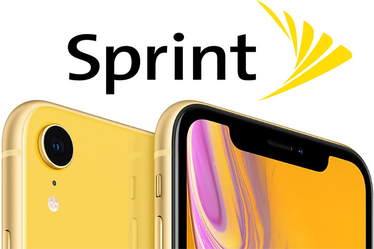 Apple iPhone XR in yellow with Sprint logo
