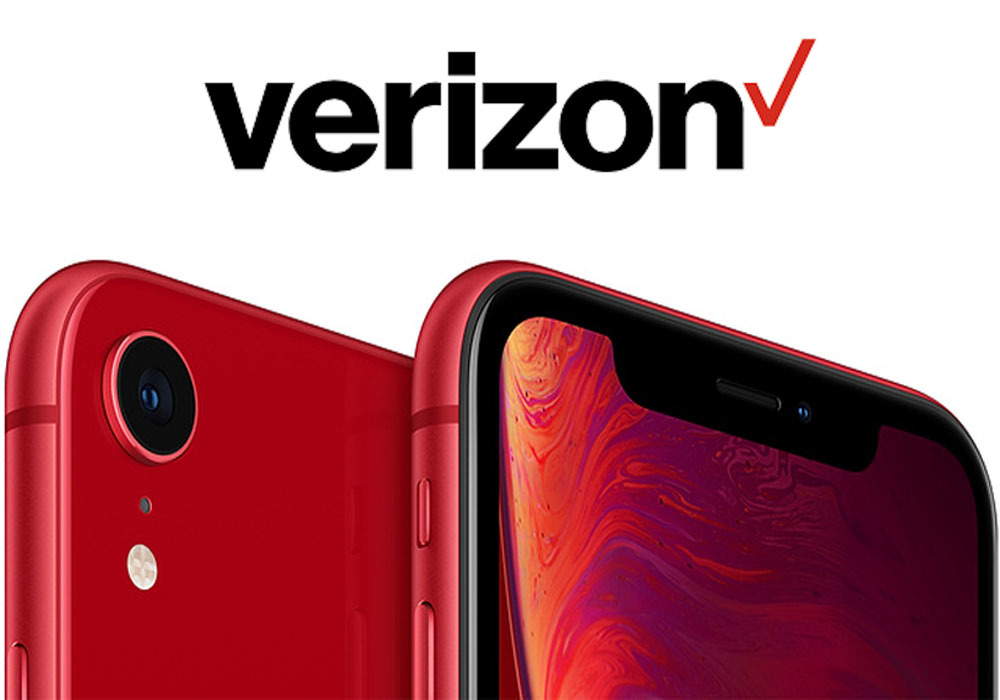 Apple iPhone XR in red with Verizon Wireless logo