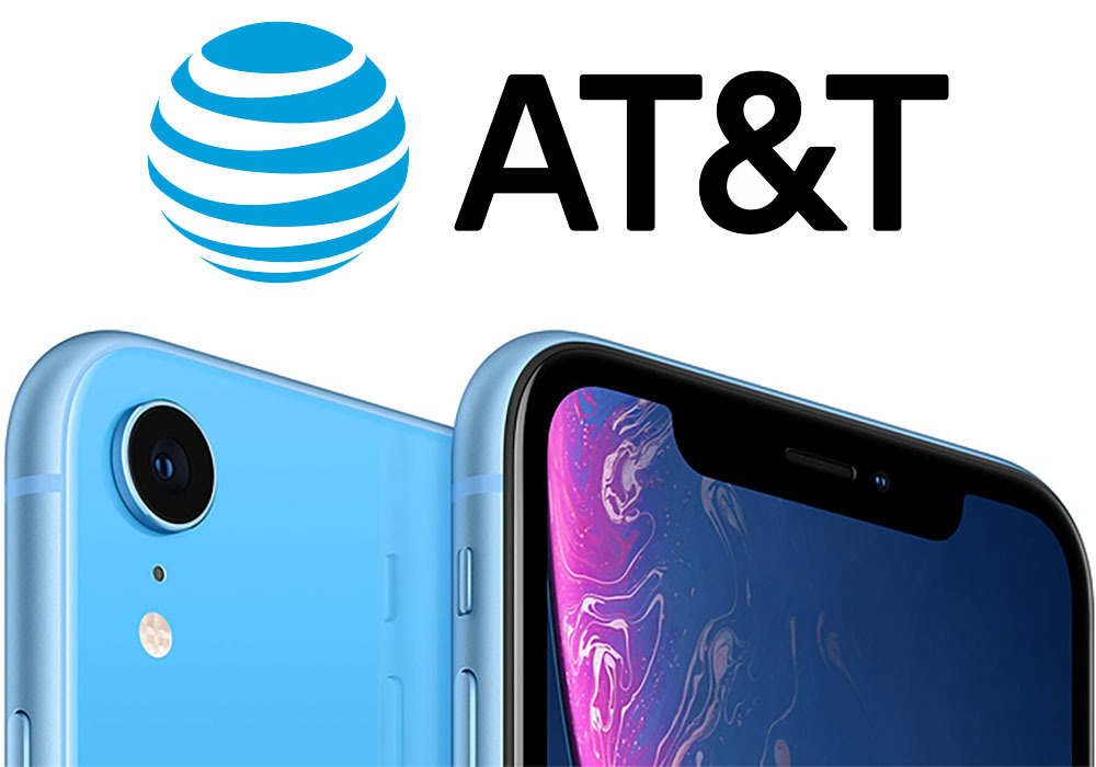 Apple iPhone XR in blue with ATT Wireless logo