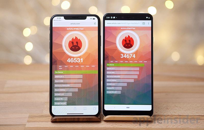 iPhone XS Max vs Pixel 3 Antutu HTML 5