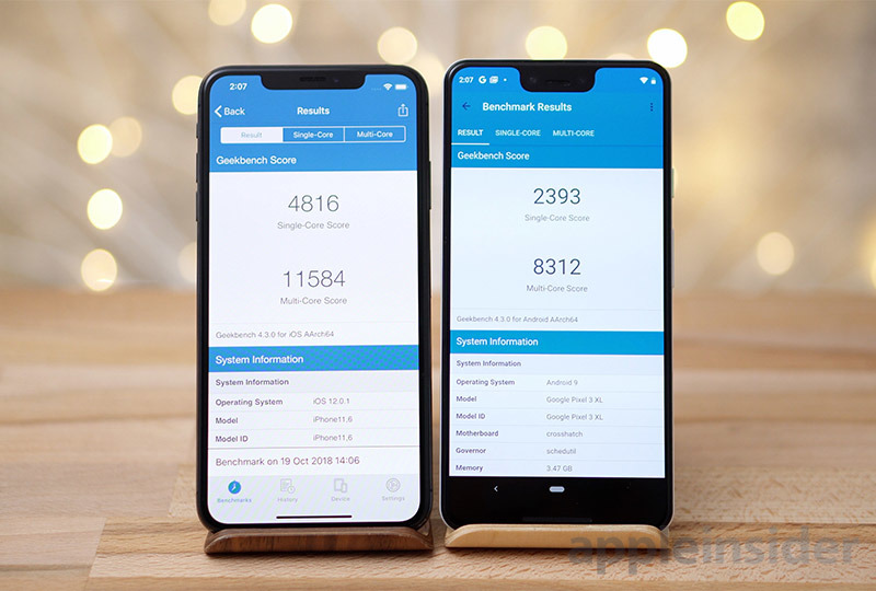 iPhone XS Max vs Pixel 3 Geekbench 4