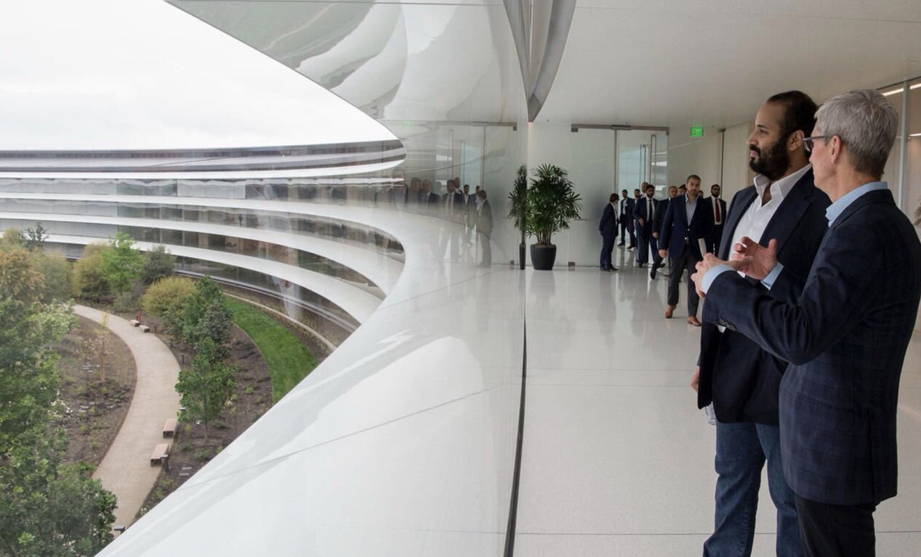 Tim Cook and MBS overlook Apple Park's campus