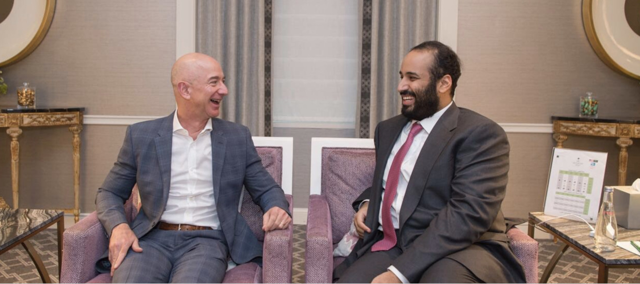 MBS and Amazon founder Jeff Bezos, during the Saudi Prince's U.S. visit in April. (Source: Saudi Press Agency)
