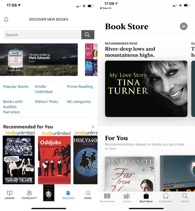 The Amazon Kindle and Apple Book stores, both on an iPhone