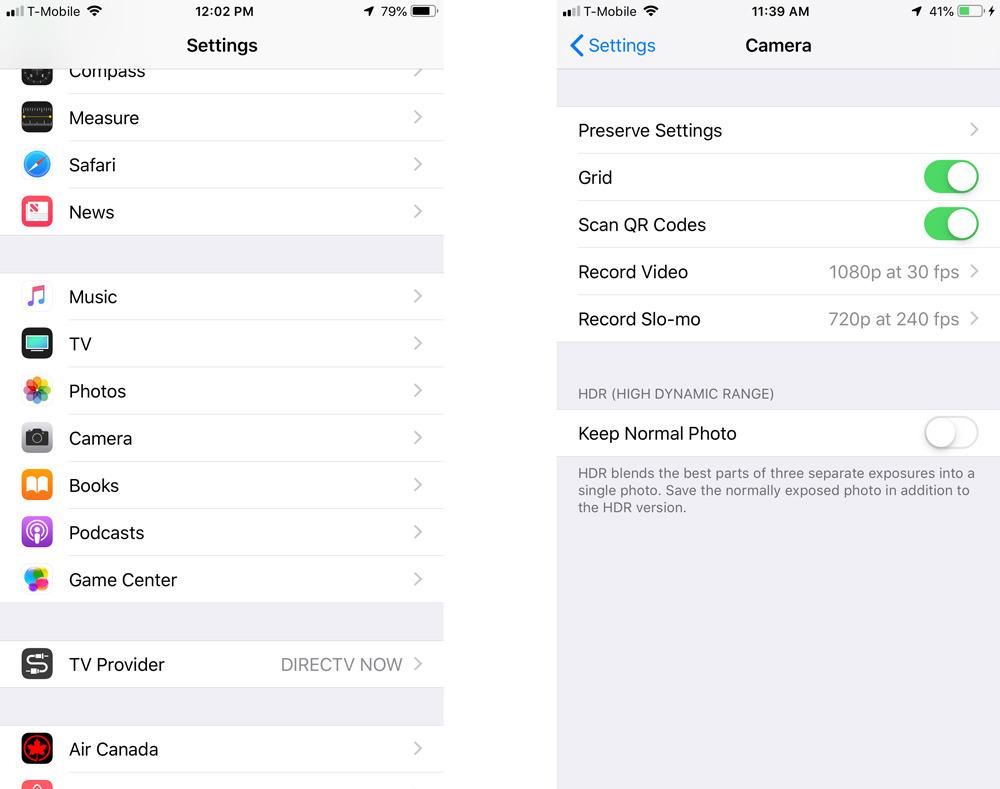 iOS 12 Camera settings
