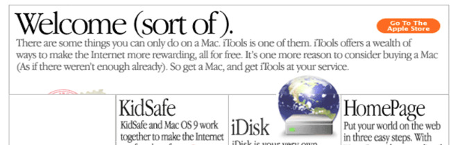 Detail from Apple's website about iTools, circa 2000