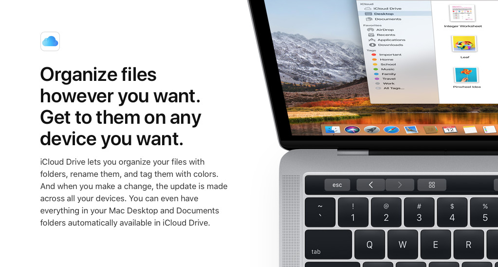 Using iCloud Drive lets you organize your work across Macs and iOS