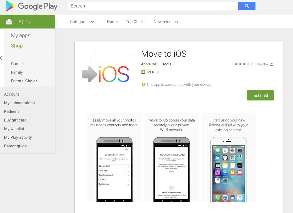 Move to iOS app on Google Play