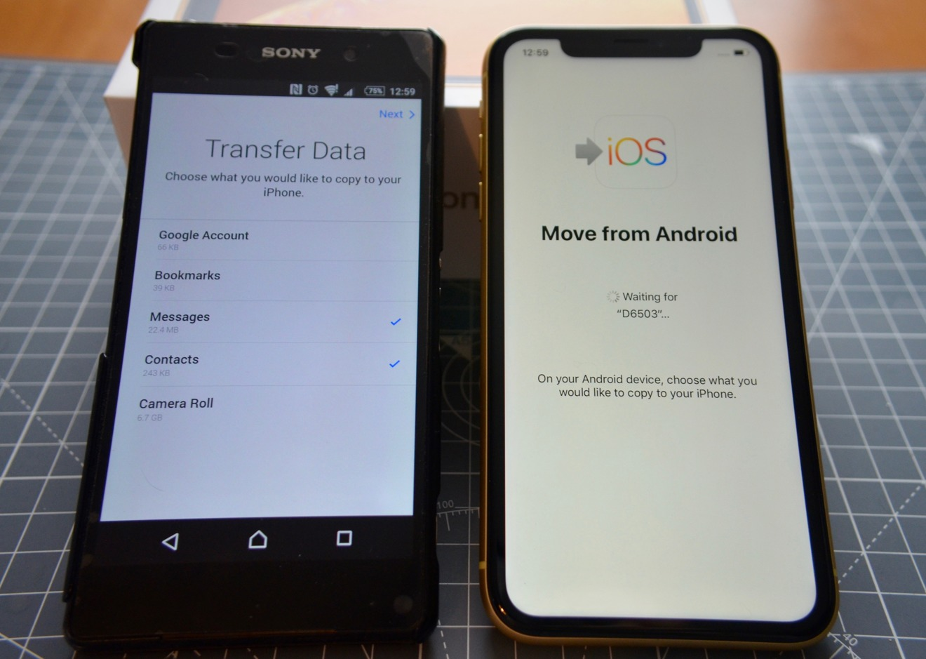 Selecting items on the Android smartphone to transfer across to the iPhone