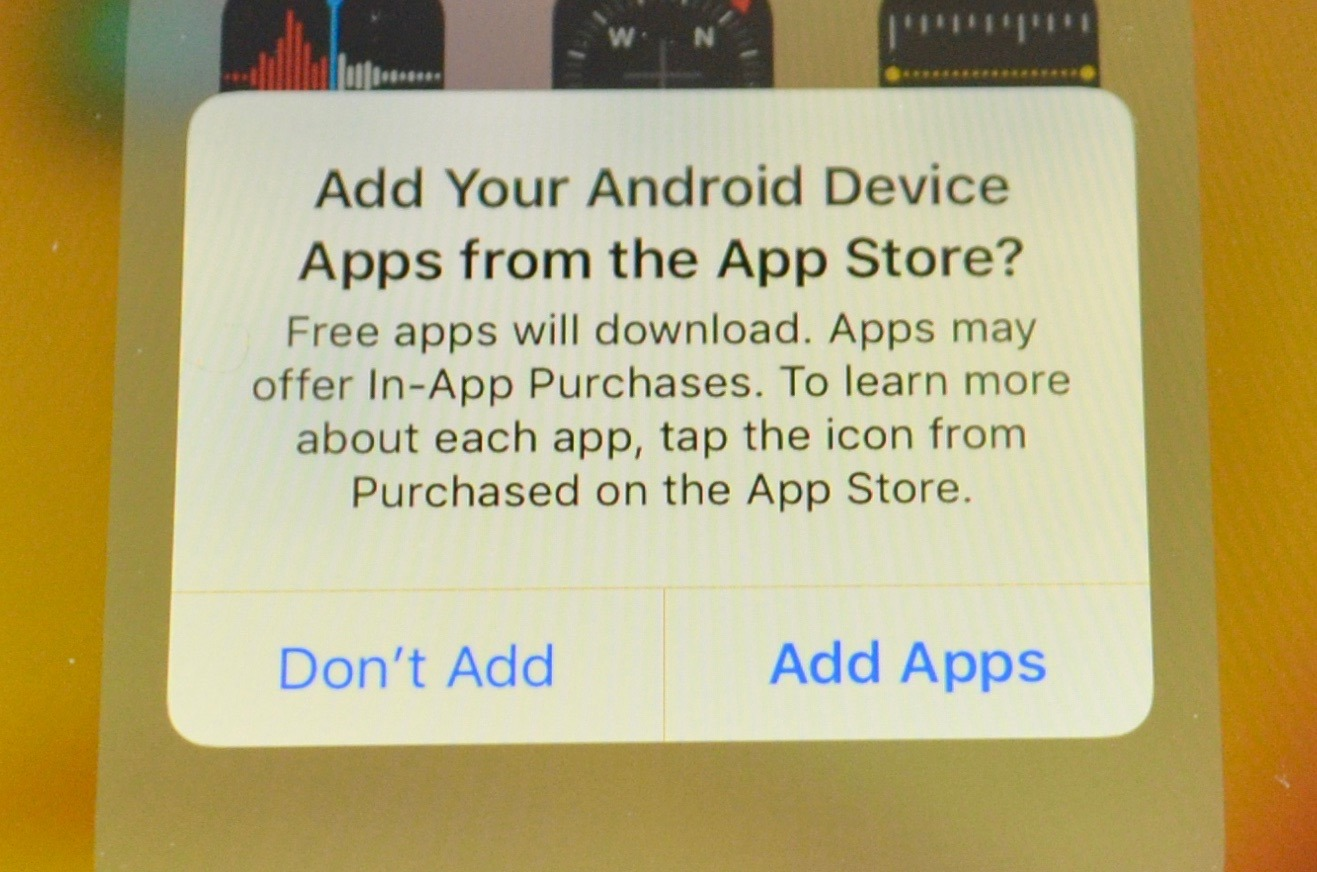 The iPhone will offer to download free apps that were installed on the Android device