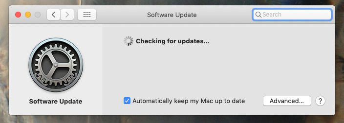 Updating macOS dialog in System Preferences