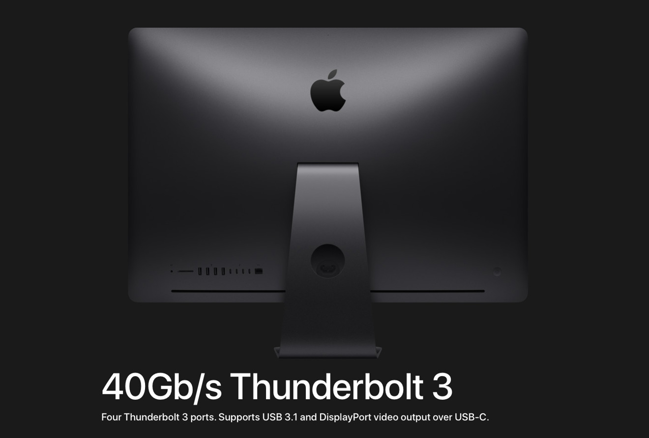 Back of an iMac Pro showing Thunderbolt 3 detail