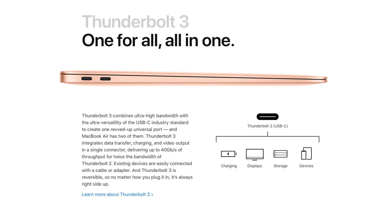Detail from how Apple presents the MacBook Air's ports