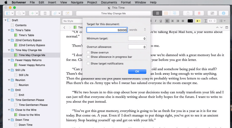 Scrivener has detailed options for word count targets