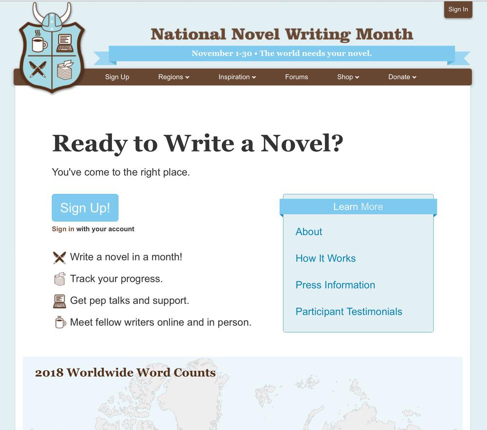 NaNoWriMo.org's homepage