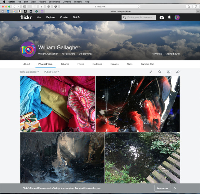 A Flickr user account page