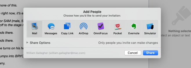 Choosing who to share your document with