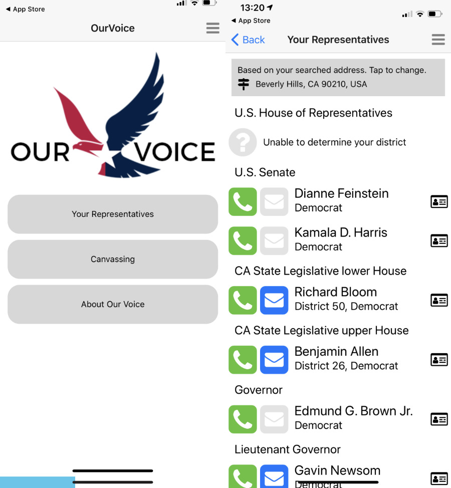 The Our Voice USA app