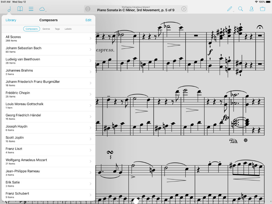 Sheet music app forScore has been updated to support the new Apple Pencil.