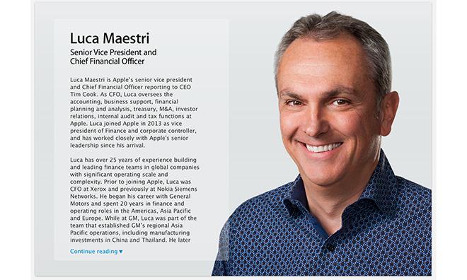 Luca Maestri, Apple's Chief Financial Officer