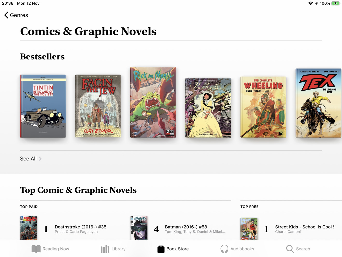 Apple Books' comic section
