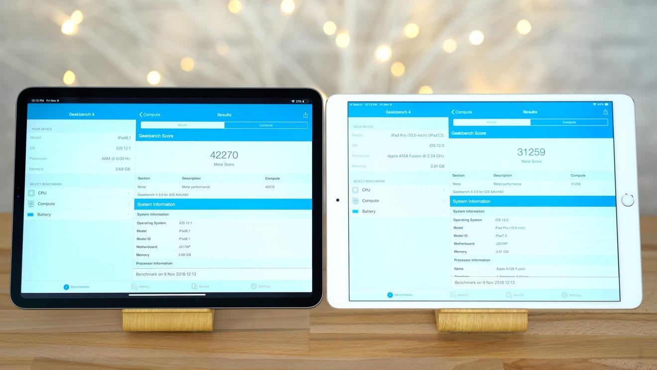 2018 11-inch iPad Pro versus 10.5-inch iPad Pro Geekbench 4 graphics