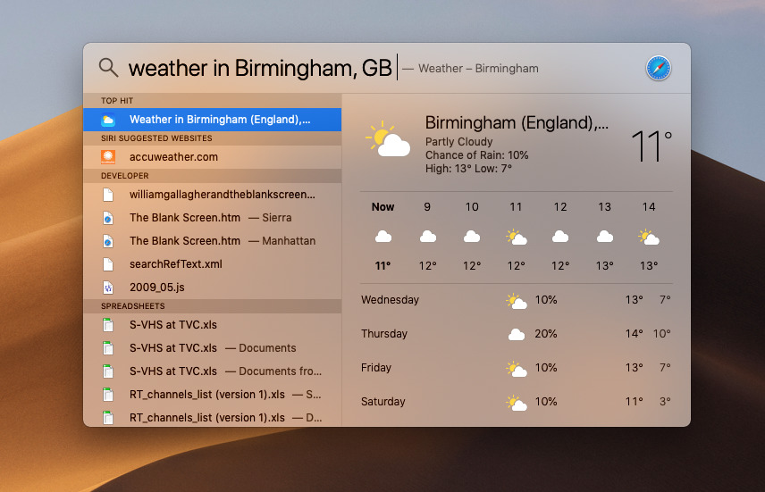 Get Spotlight to return search results such as the local weather