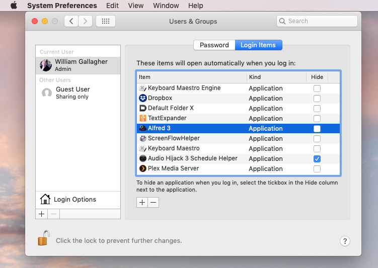 Login Items in Mac System Preferences