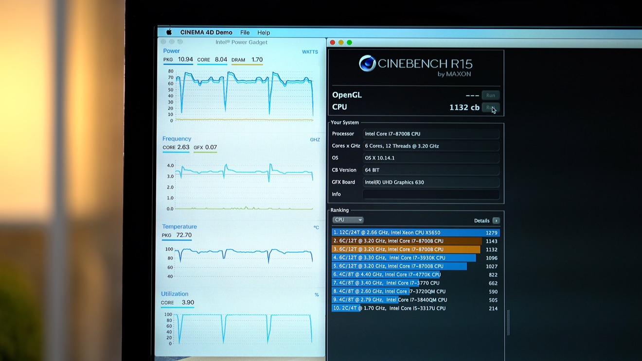 Fifth Cinebench R15 Run during Stress Test on 2018 Mac mini