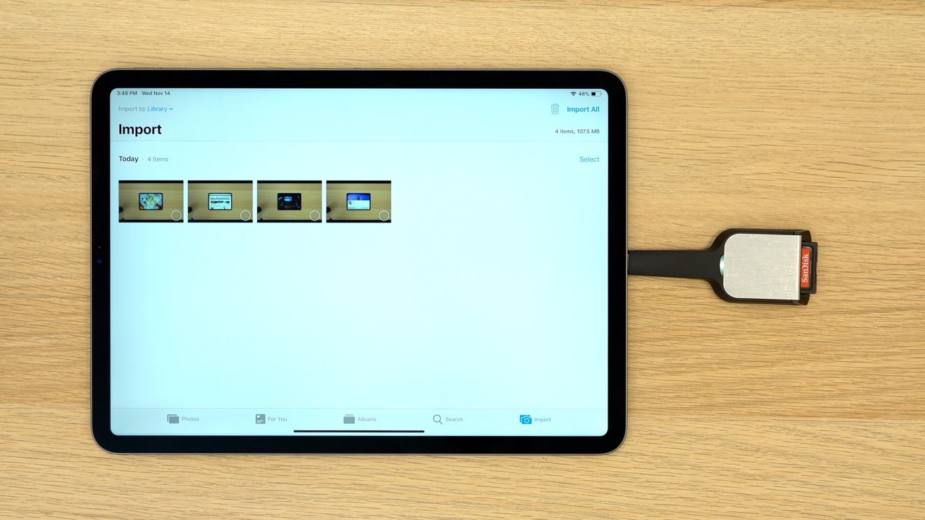11-inch iPad Pro USB-C SD Card reader
